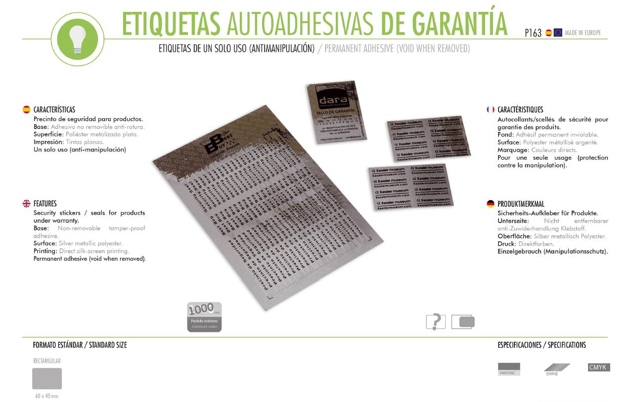 Etiquetas Autoadhesivas de Garantia