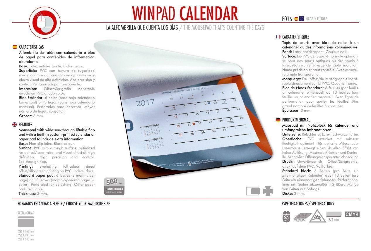 Alfombrilla de Ratón Winpad Calendar